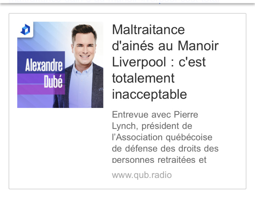 Manoir Liverpool: entrevue QUB radio avec Pierre Lynch de L'AQDR nationale